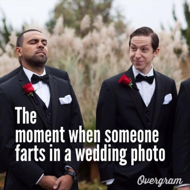 farting in a wedding photo