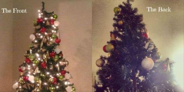 front and back of christmas tree
