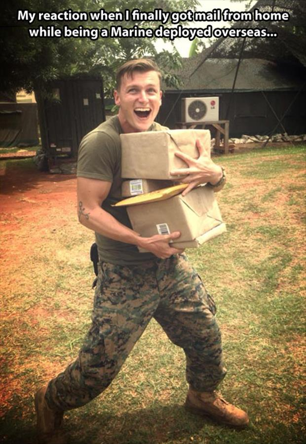 marine getting mail from home