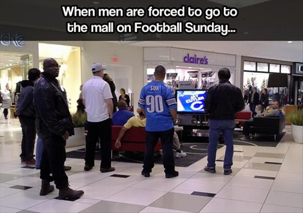 men at the mall on football sunday