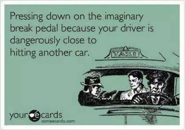 pressing down on an imaginary brake pedal