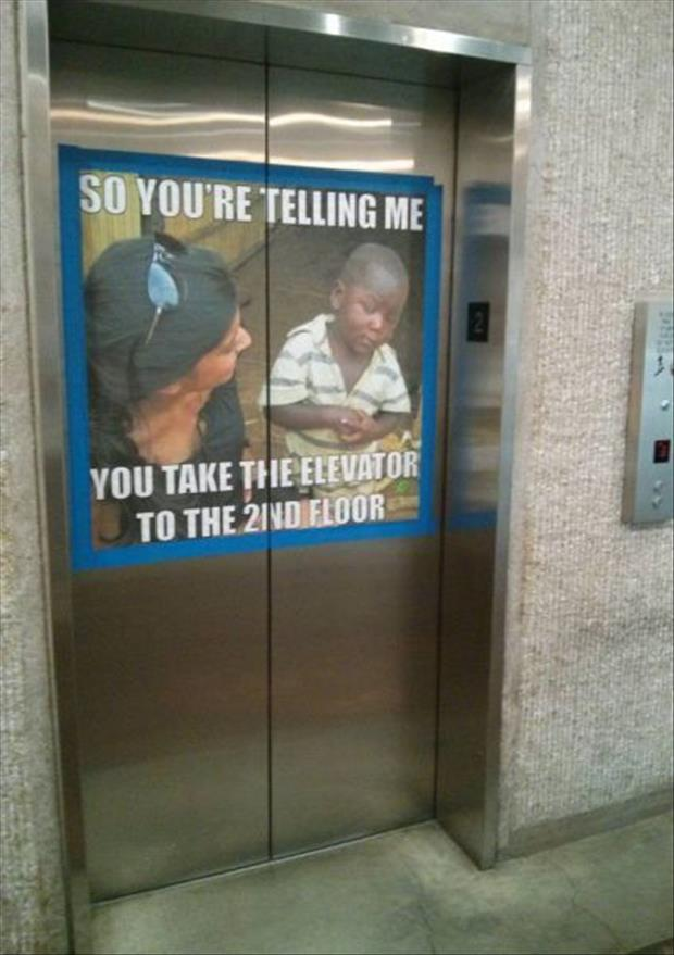take the elevator to the second floor