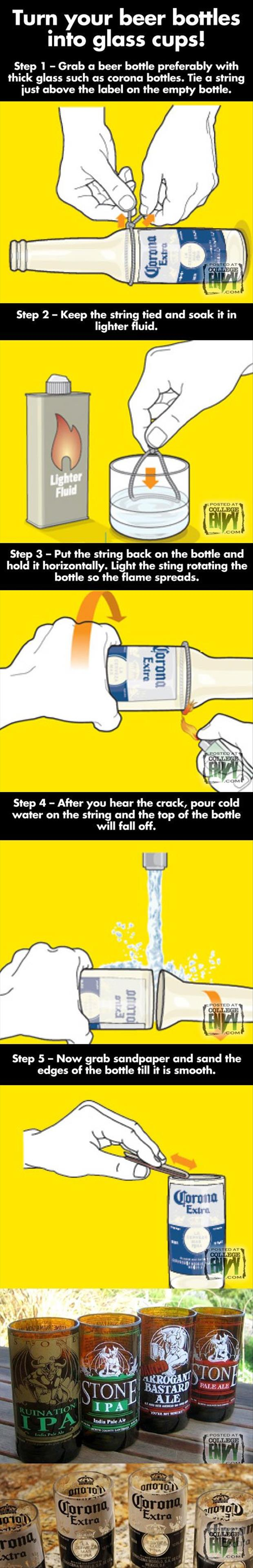 How to break a glass bottle