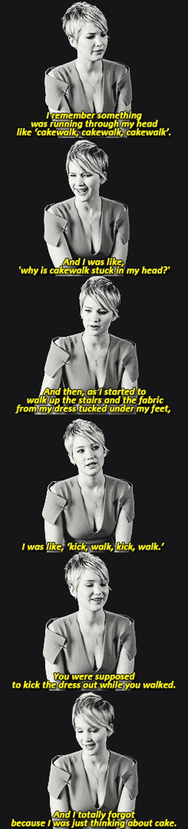 Jennifer lawrence talks about tripping at the oscars