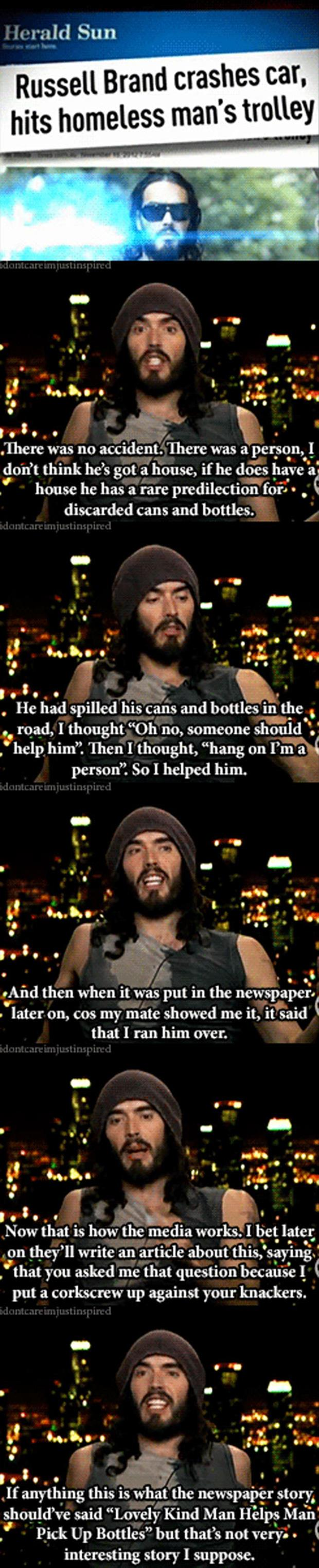 Russell brand runs over homeless man with car