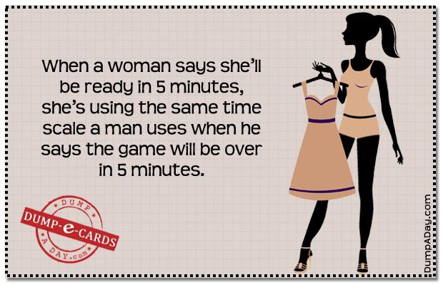 Woman getting dressed Dump E-card