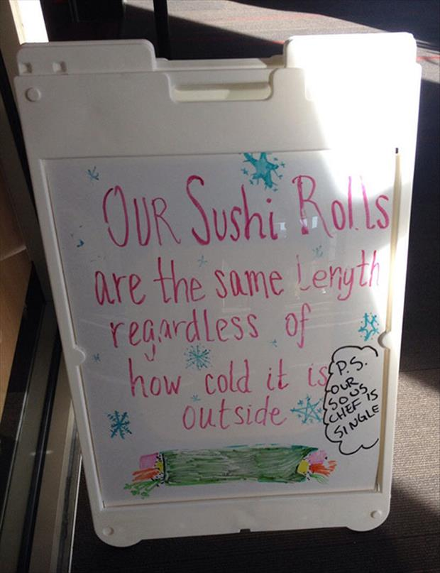 a funny business sign sushi