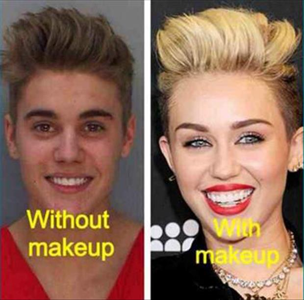 a justin bieber with make up and without makeup