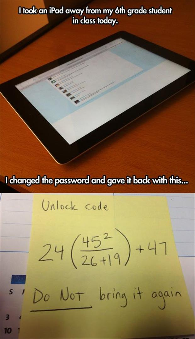 changed the password on iPad