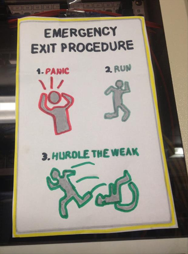 emergency evacuation plan funny pictures