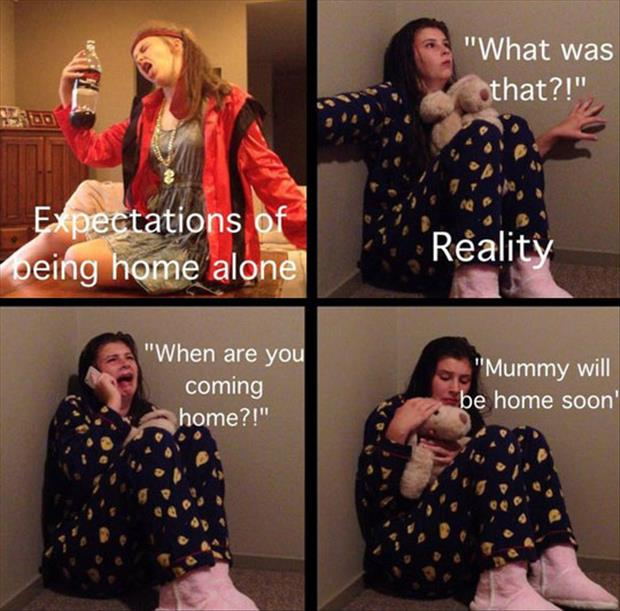 expectations of staying at home vs reality