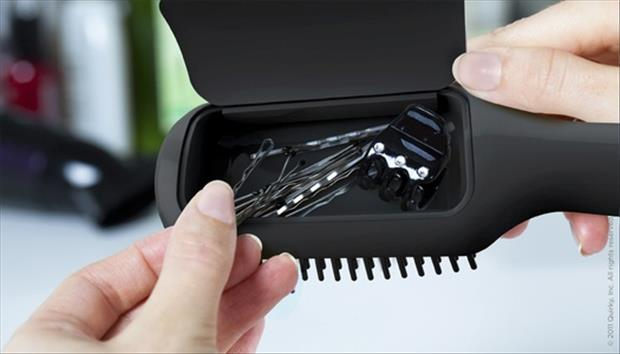 hair brush storage compartment