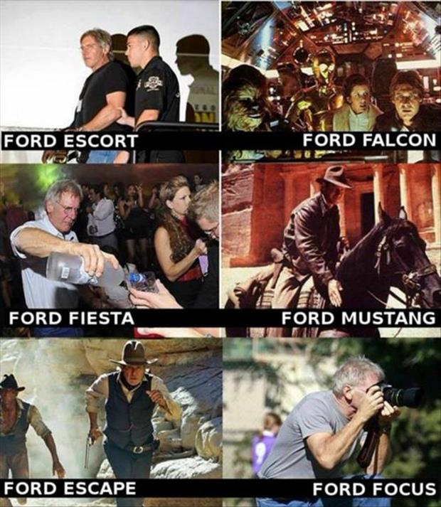 harrison ford funny car names