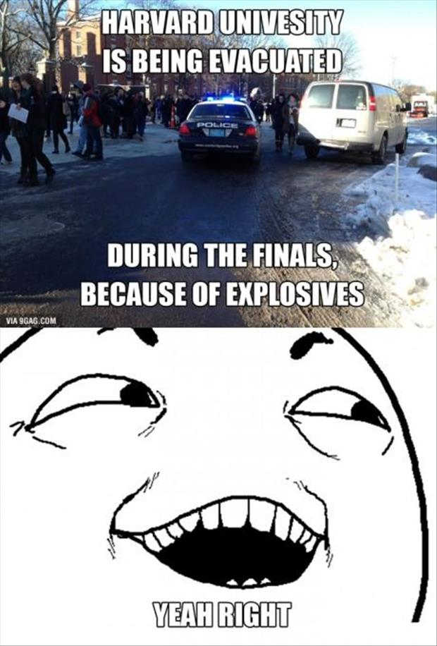 harvard is being evacuated during finals