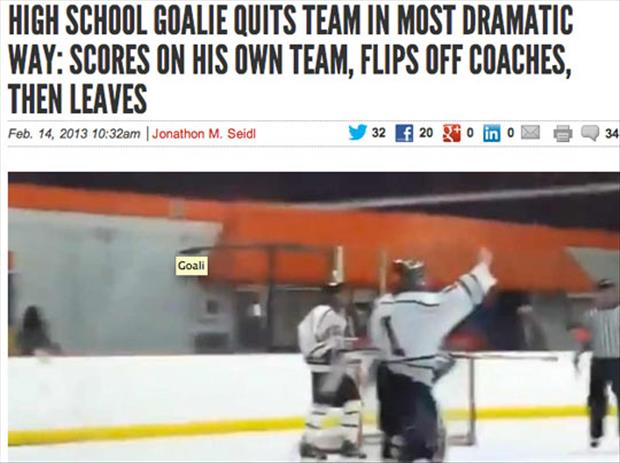 high school goalie quits team in epic fashion