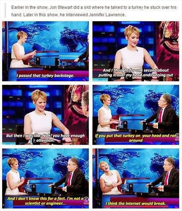 jennifer lawrence on the jon stewart show funny captions