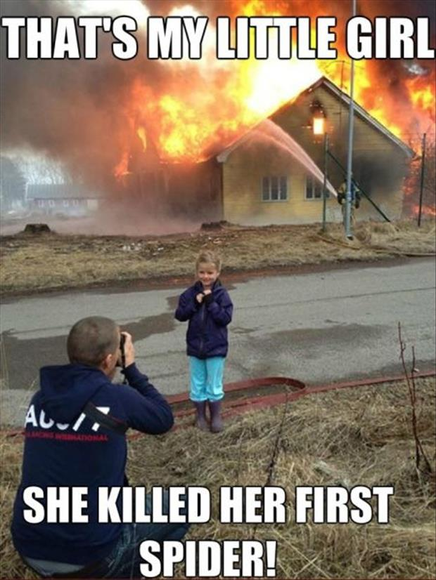 little girl kills her first spider