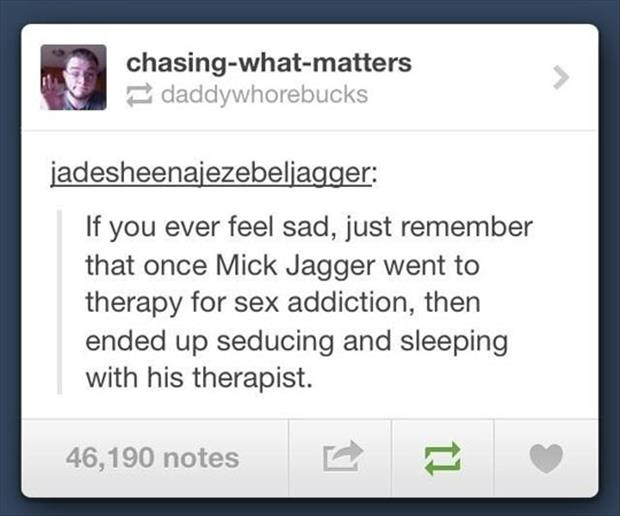 mick jagger was a sex addict