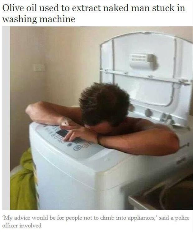 naked man in washing machine