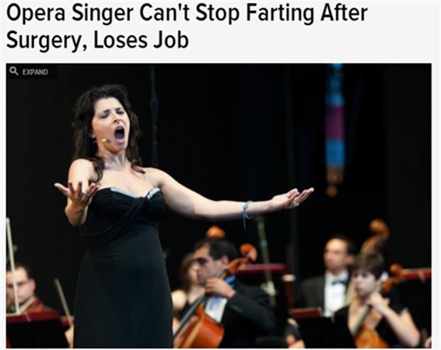 opera singer loses her job for farting to much