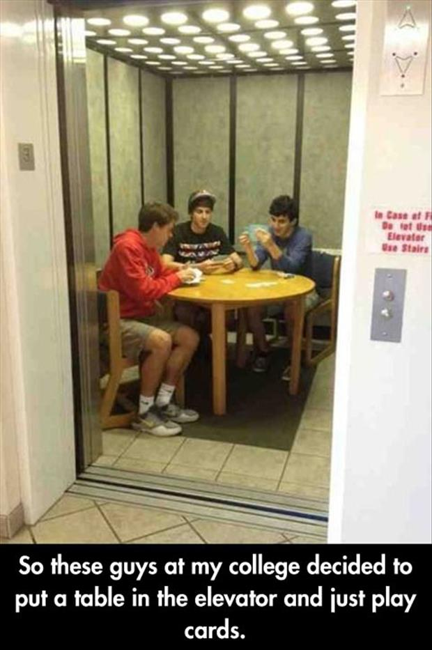 playing cards in the elevator