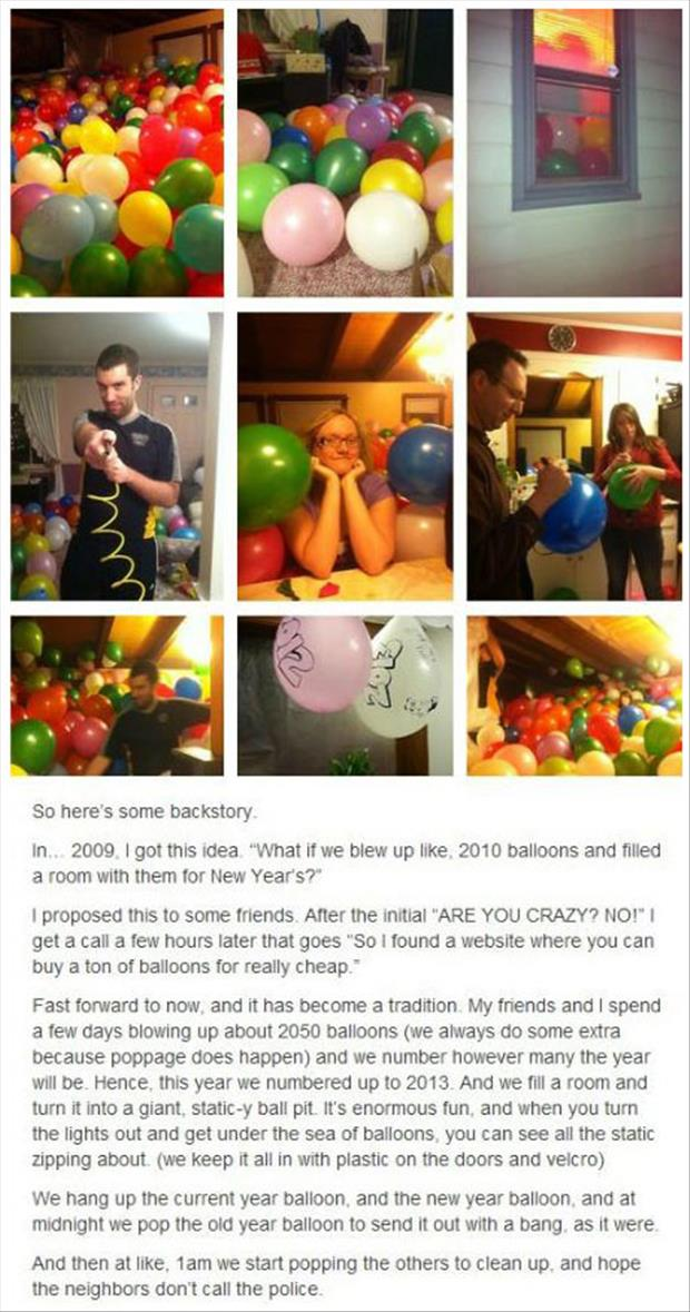 popping balloons for new years