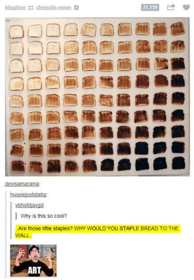staple bread to the wall