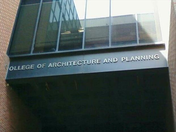 the college for planning funny signs