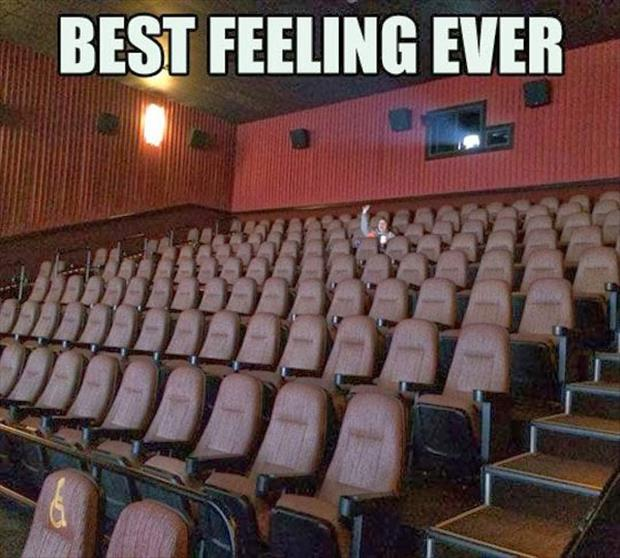 the only one in a movie theater