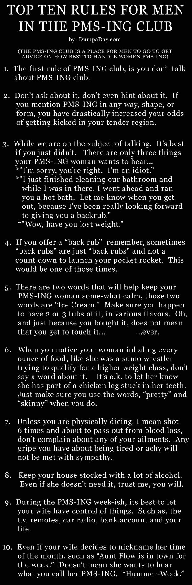 the pms club funny rules