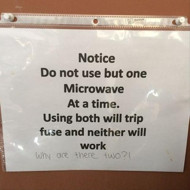 two microwaves at work