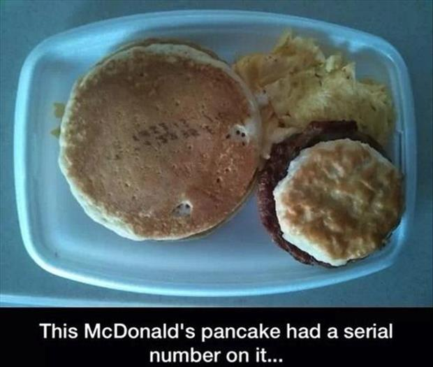 McDonald's pancake has a seriel number on it