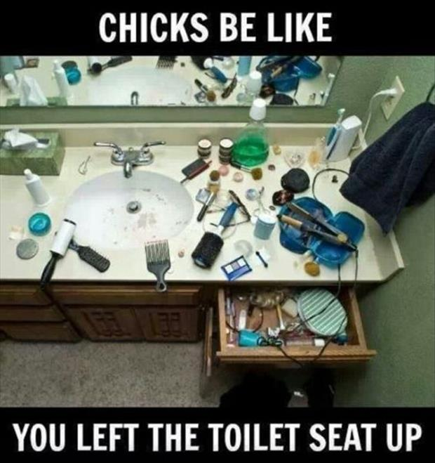 chicks are like, you left the toilet seat up