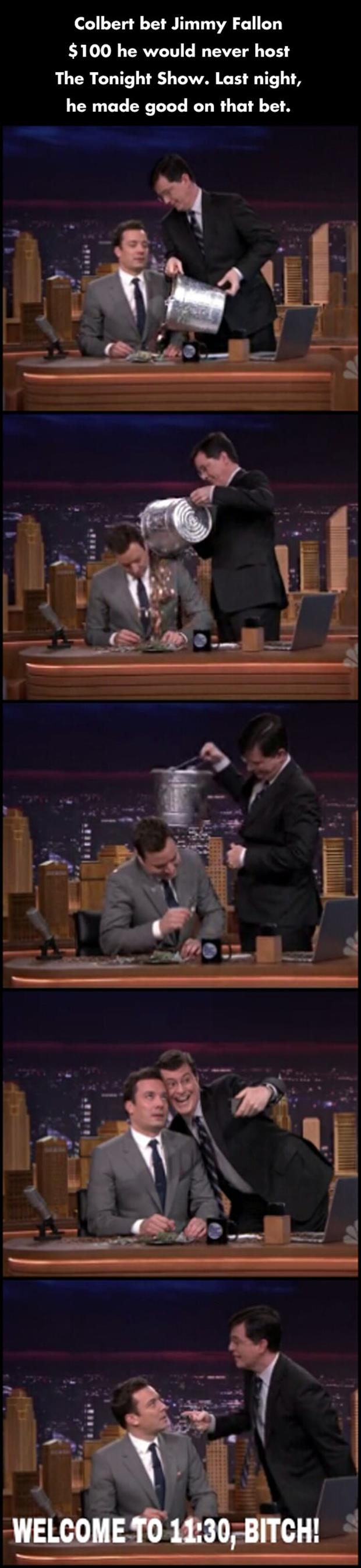 colbert and jimmy falen hosting the tonight show