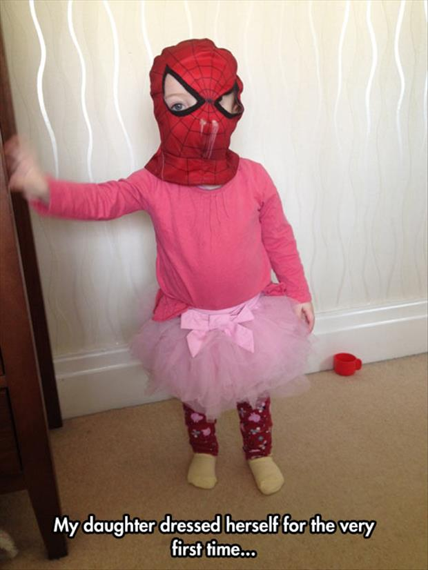 daughter dresses herself for the first time ever