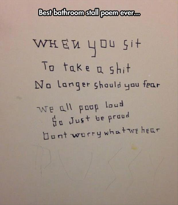 funny bathroom poems written on the stall walls