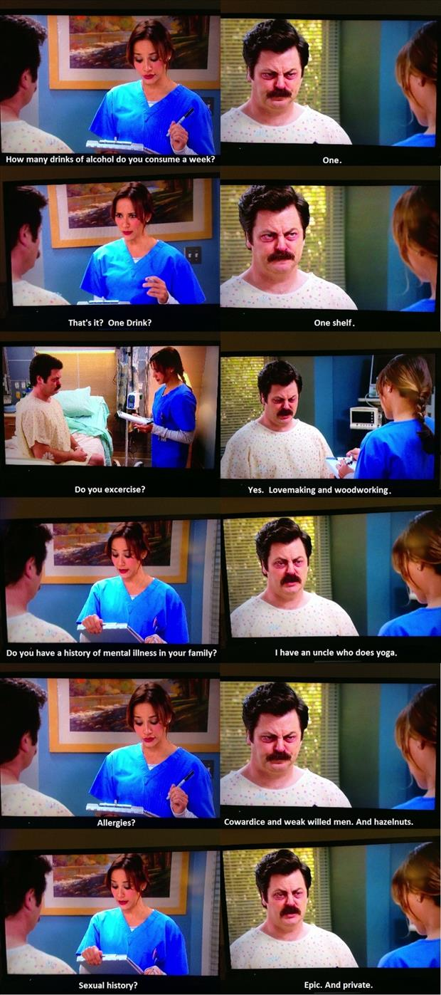 funny ron swanson in the hospital