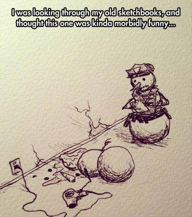 funny snowman sketches