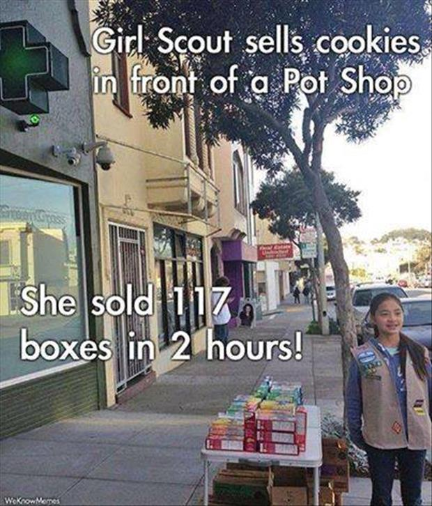 girl scout cookies in front of pot shop