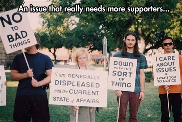 more supporters to protest funny