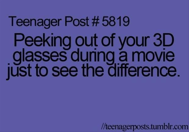 peaking out of your 3d glasses