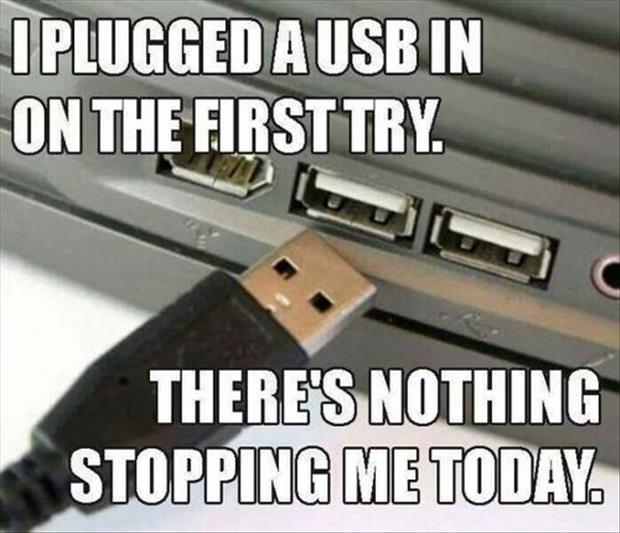 plugging in the usb port