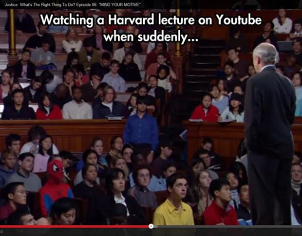 spiderman in a harvard lecture