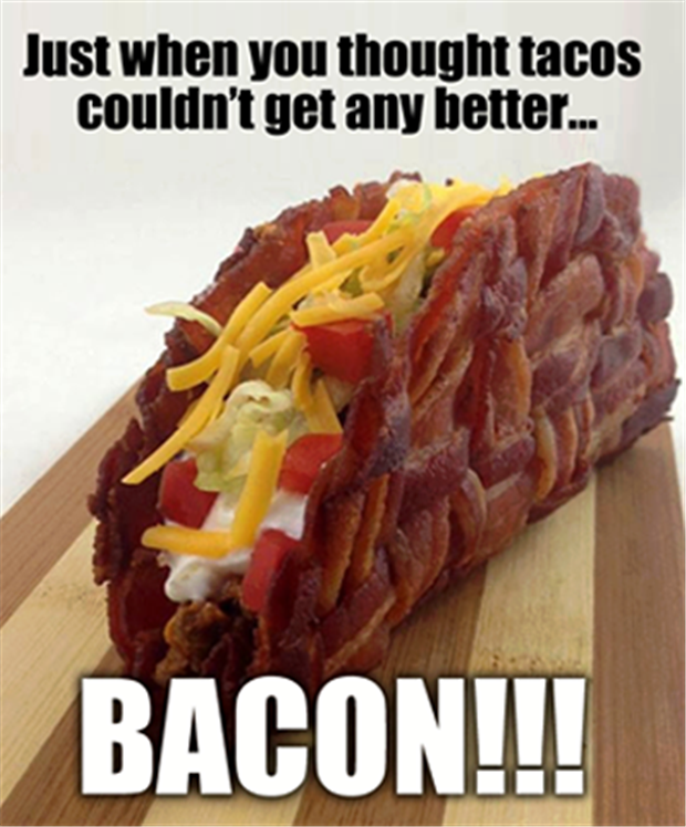 tacos made from bacon