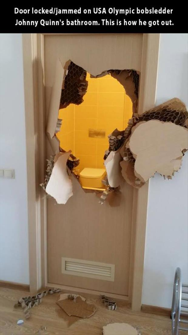 the door was jammed on olympic bobsledder