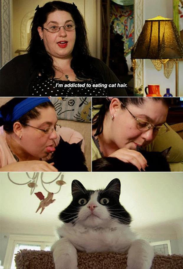 woman addicted to eating cat hair