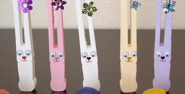 Clothes pin bunnies