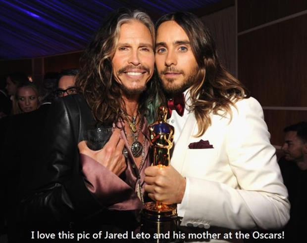 Jared letto and his mother at the oscars