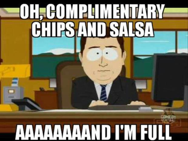 eating chips and salsa before a meal
