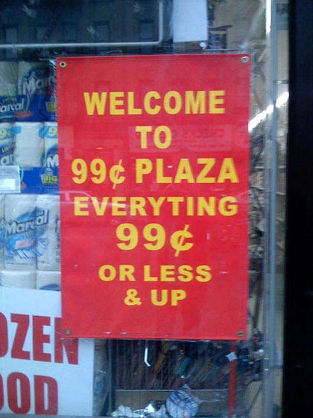 funny dollar store signs